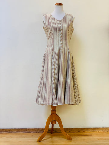 Buttoned Flared Dress 4318A 4B - Size 4 - Beige/Olive Green Stripes