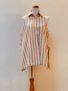 A-line Long Vest with Collar - 2179E 4A Size 4  - Light Brown Stripes