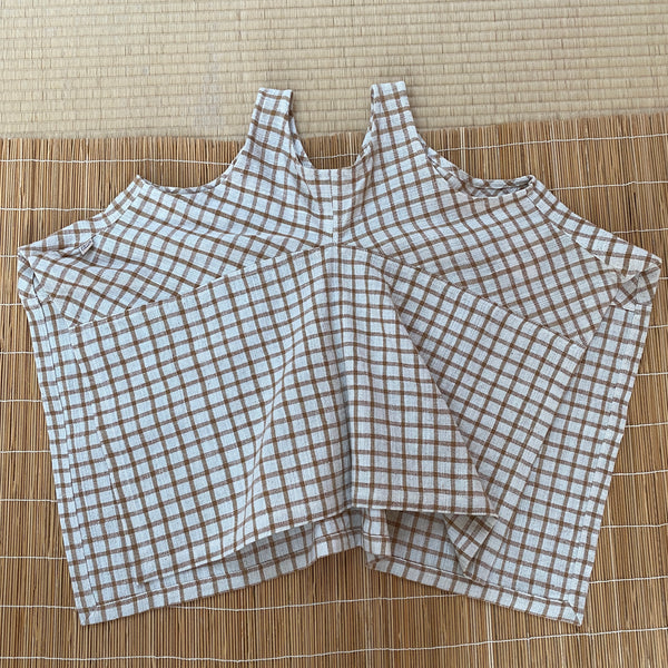 Square-Bottom Tank Top 2173L 4B - Size 4 - Brown/White Plaid
