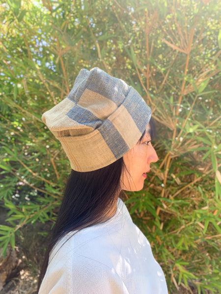 Beanie Style Cap 7014E F - Indigo / Beige / Brown Stripes
