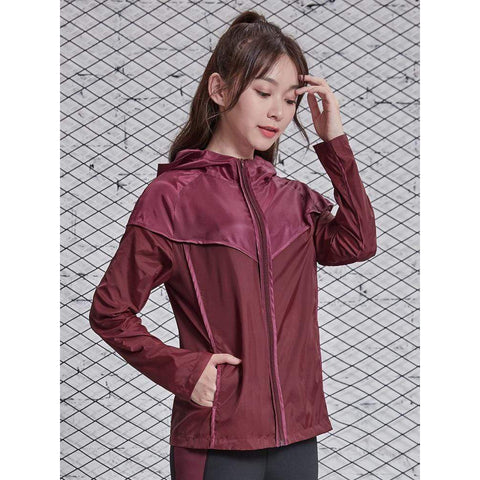 VANSYDICAL Running Jacket Women Fashion Zipper Hooded Jersey Long Sleeve Dry Women Sports Wear for Gym Clothing Workout Shirt