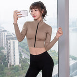 Women Trainning & Exercise Coat Gym Sports Jacket Stretch Tight Zipper Running Gym Clothes