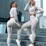 Women Fitness Sports Suits 2 Piece Yoga set Gym Clothing Long Sleeve Shirts High Waist Running Pants Workout Pants Sports Wear