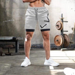 2 in 1 Men Running Shorts with Waist Rope Quick Dry Pocket Gym Fitness Bodybuilding Sport Shorts with Long Linner Plus Size 3XL