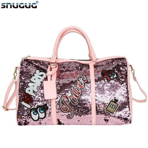 Outdoor Pink Woman Sports Bags For Fitness Sequin Gym Bags Women Training Yoga Duffle Bag Glitter Luggage Travel Bag Organizer