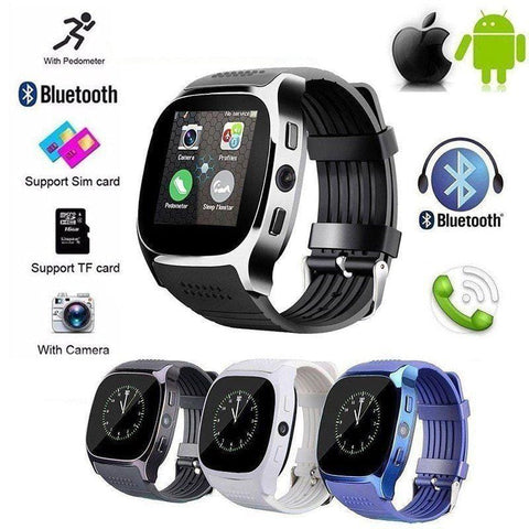 T8 Waterproof Digital LCD Walking Pedometer Bluetooth Running Step Tracker Calorie GSM SIM Sports Fitness Watch with Camera