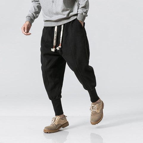NEW Winter Street Casual Solid Color Thicken Fleece Warm Men's Jogger Trousers Fashion Elastic Waist Streetwear Sweatpants M-4XL