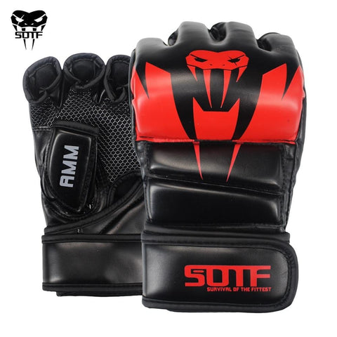 SUOTF Black Fighting MMA Boxing Sports Leather Gloves Tiger Muay Thai fight box mma gloves boxing sanda boxing glove pads