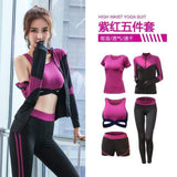 women yoga 5 pieces set High waist pants+coat+t shirt+bra+pants  outdoor running quick dry fitness gym clothing sports set S-XXL