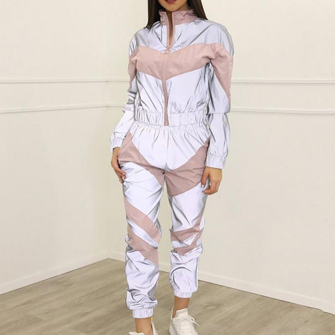 Sexy Yoga Set Women Reflective Tracksuit Splicing Long Sleeve Zipper Shirts Sports Wear Women fitness Gym Clothing 2 Piece mujer