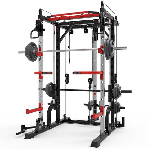 128KG Smith machine steel squat rack gantry frame fitness home comprehensive training device free squat bench press frame.