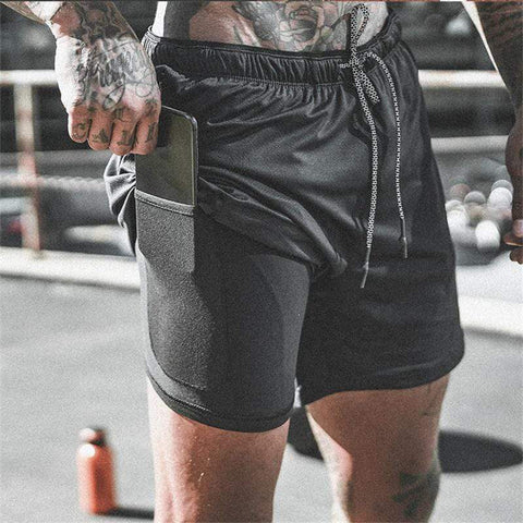 Men's fitness shorts summer breathable quick-drying running short sweatshirt men's large size fake two-piece sports shorts