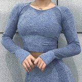 2 Pcs Sports Suits Autumn Seamless Yoga Sets Woman Yoga Leggings Thumb Hole Workout Crop Tops Fitness Clothing Sportswear