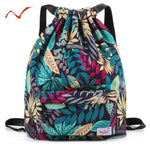 Waterproof Drawstring Backpack Leaf Pattern Sports Bags for Women Men Outdoor Fitness Training Gym Surfing Bag For Shoes Storage
