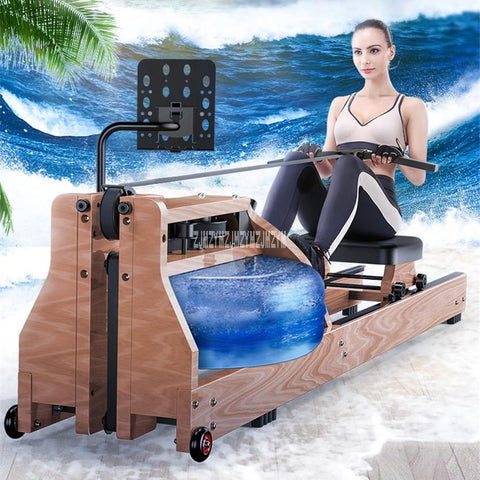 8090 Adjustable Water Resistance Wood Double Track Mute Rowing Machine Aerobic Exercise Body Glider Training Fitness Equipment