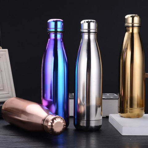 500ML Fashion Stainless Steel Water Bottle Kids School Thermal Insulated Vacuum Flask Hot/Cold Water Bottle for Sports Gym Gifts