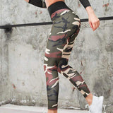 Women Camouflage Yoga Set Fitness Clothes Sports Suits Gym Clothing Crop Top+Running Leggings Workout Pants Shirts Leggings Sets