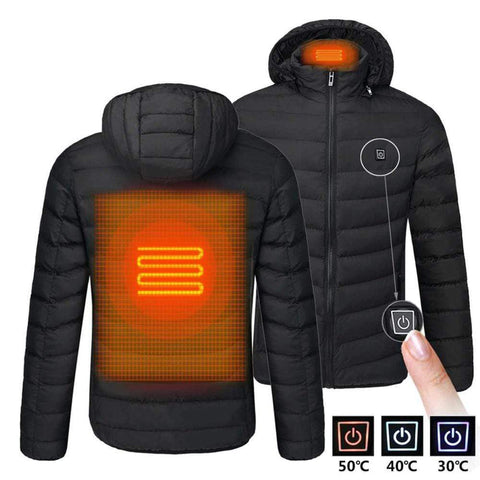Men Heated Jackets Outdoor Coat USB Electric Battery Long Sleeves Heating Hooded Jackets Warm Winter Thermal Clothing