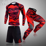3-piece sets Compression Suits Men's Quick Dry set Clothes Sport Running MMA jogging Gym work out Fitness Tracksuit clothing
