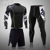 4XL MMA Compression sets Tracksuit Mens Sport Running Set Jogging Suit  Rashgard Gym Clothing Men Fitness clothing Tigh
