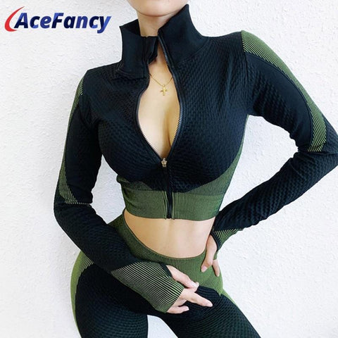 Acefancy Women Zipper Workout Tops Long Sleeve ZC2683 Slim Fit Fitness Jacket with Thumb Holes Gym Top Sportswear For Women