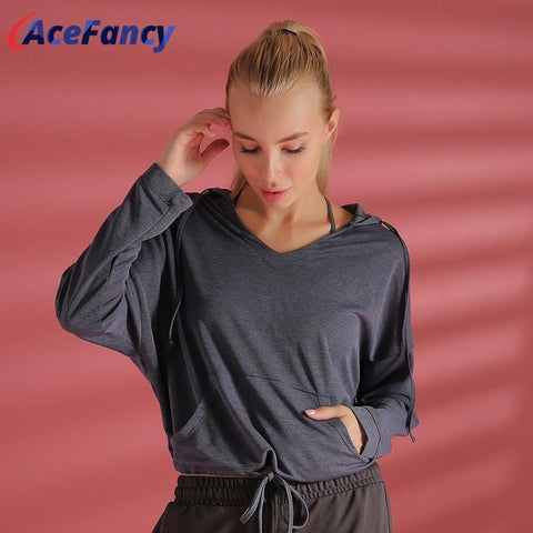 Acefancy Plain Crop Top Sports Yoga Shirts Women Hoodie Long Sleeve Crop Top T2002 Sports Wear For Women Gym Workout Clothing