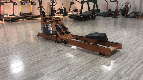 folding wooden water rower home gym equipment row