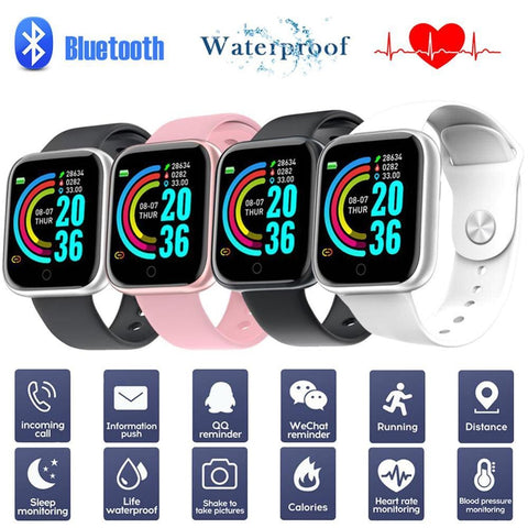 Y68 Smart Watch Bluetooth Fitness Tracker Sports Watch Heart Rate Monitor Blood Pressure Waterproof Bracelet for Android IOS