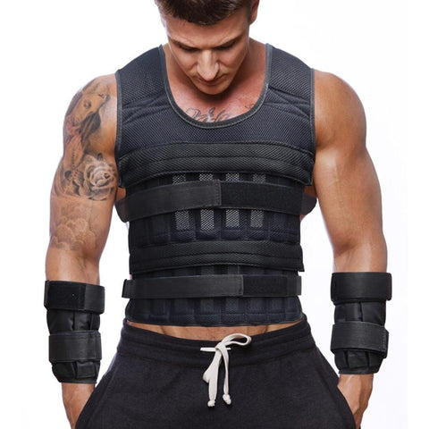 35KG Exercise Loading Weight Vest Boxing Running Sling Weight Training Workout Fitness Adjustable Waistcoat Jacket Sand Clothing