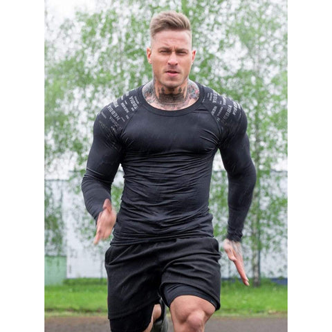Men's fashion O-neck fitness long T-shirt Men's sports running exercise close-fitting milk silk stretch long-sleeved T-shirt