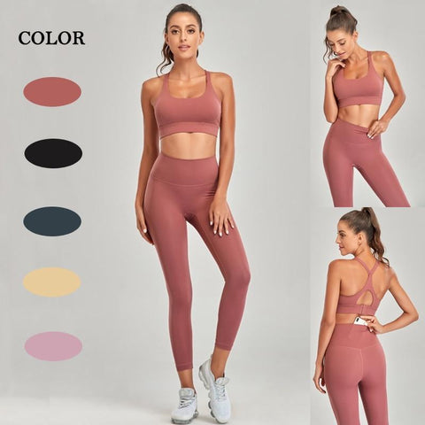 Yoga Set Seamless Gym Sport Work Out Exercise Clothing Athletic Wear For Women Fitness Suit Bras High Waist Leggings Sportswear