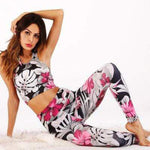 Hirigin Women's Suit Apparel Sports Gym Yoga Tracksuit Workout Activewear 2 Pieces Sportswear Flower Top+Leggings Long Pants Set