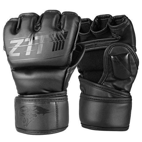 ZTTY Half Finger Boxing Gloves PU Leather MMA Fighting Kick Boxing Gloves Karate Muay Thai Training Workout Gloves Men