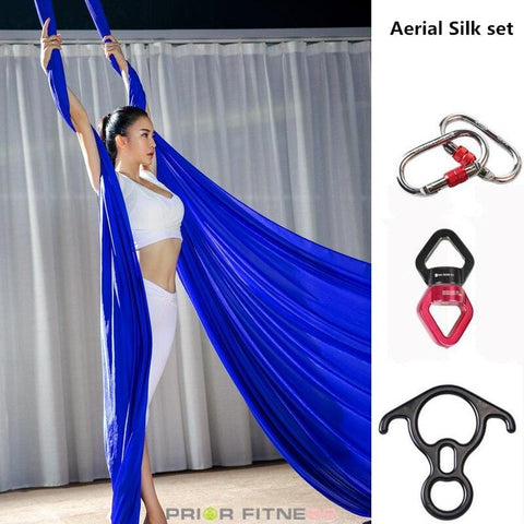 PRIOR FITNESS 6 meters Yoga Aerial Silks set Low Stretch Hammock trapeze inversion fly Including yoga accessories