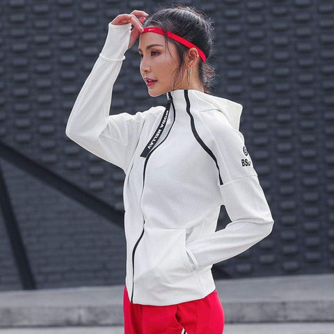 Running Jacket For Women Yoga Hooded Zipper Fitness Hoodies  Long Sleeve Thumb Hole Workout Gym Sportswear Sweatshirt Outwear