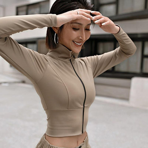 Women Sports Jackets Long Sleeve Yoga Training Zip Training Clothes  Running Jacket Coats Workout Gym Clothing Fitness Crop Top
