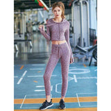 Two Pieces Women Yoga Sets Solid Long Sleeve Sport Hoodies Fitness Clothing Skinny Running Tracksuit GYM Workout Tops Yoga Suits