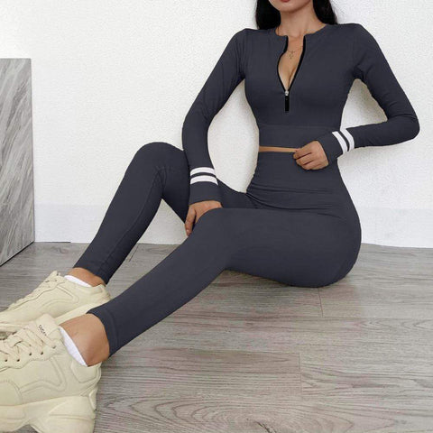 Women's Seamless Yoga Sets Long Sleeve Top Zipper Coat Sports Leggings Suit Workout Sportswear Gym Clothing Tracksuit 2020