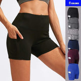 High Waist Women Running Shorts With Pocket Seamless Hip-up Tight Elastic Sport Shorts Push Up Running Fitness Yoga Gym Clothes