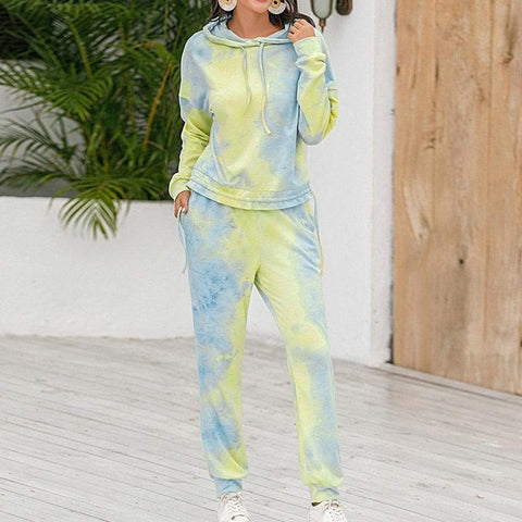 Jogging Suit Women Tracksuit Two Piece Tie-dye Printed Lounge Wear Set Long Sleeve Hoodie And Trousers Casual Sweatsuit
