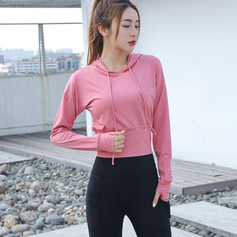 Autumn Running Top Shirts Gym Fitness Clothes Women Sportswear Slim Workout Jacket Women Hooded Sport Jackets Pink Yoga Shirts