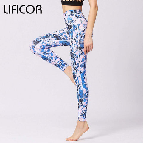 2018 Women's Workout Yoga Pants Fitness Running Leggings Sport Quick Dry Print Athletic Pants Fitness Gym Clothing Sweatpants