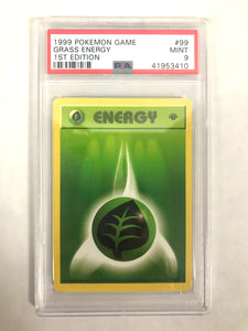Pokemon 1999 Grass Energy 1st Edition PSA Graded Mint 9