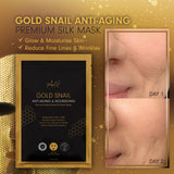 MEIN-V gold snail anti aging premium silk mask. moisturise and reduce fine lines and wrinkles. Before and after review in singapore