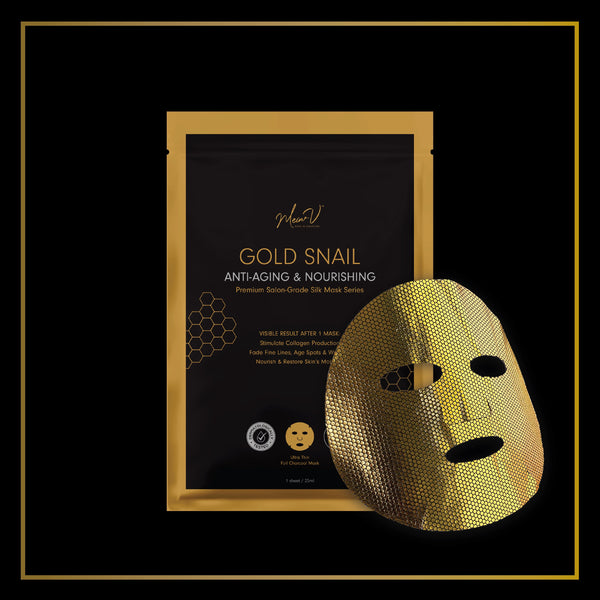 MEIN-V Gold Snail Anti-Aging Silk Mask. Premium Sheet Mask Singapore. Anti wrinkles and boost collagen production