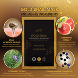 MEIN-V gold snail sheet mask benefits. snail secretion filtrate repair damaged tissue and stimulate collagen production. rosemary extract protect from environmental aggressors such as sunlight, infrared radiation and air pollution. Niacinamide vitamin B3 fade fine lines and wrinkles. Grapefruit extract transform dull dehydrated complexions and leaves skin beautifully radiant.