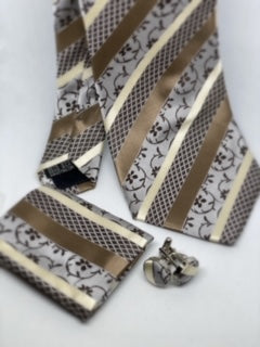 Brown Striped Print Tie Set