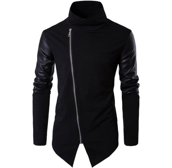 Mens Zippered Sweatshirt with Leather Patchwork