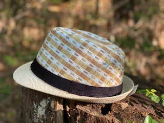 Straw Fedora Hat with Black Grosgrain Band