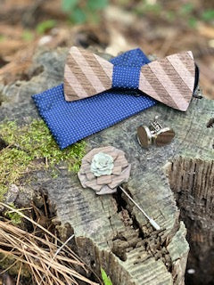 Wood Bow Tie Set - Navy Polka Dot
